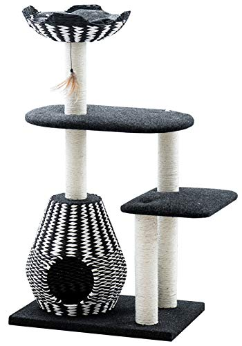 black and white paper and sisal woven tower and scratcher