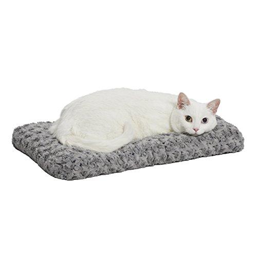 gato blanco en cama de felpa gris