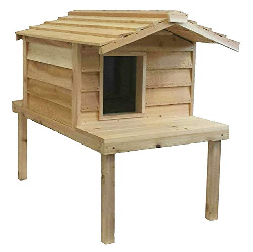 cedar wood elevated outdoor cat house