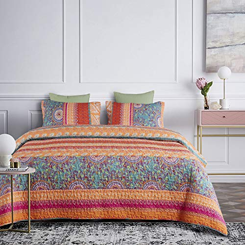 Wake In Cloud colorful microfiber quilt and sham set