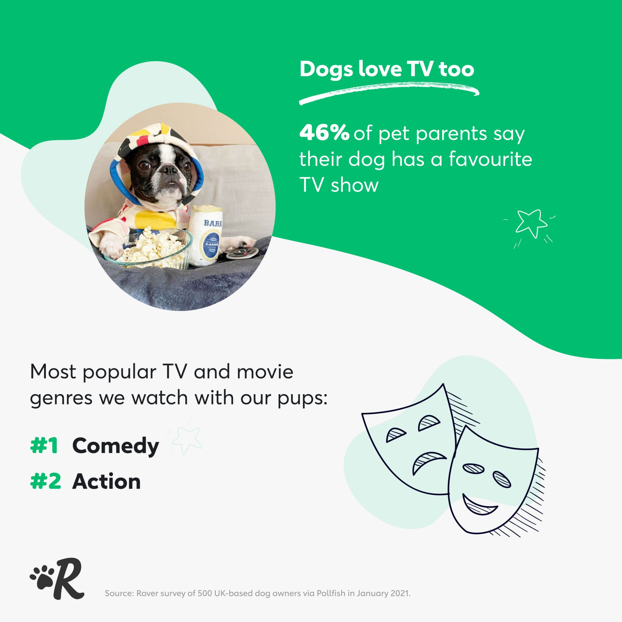 Infographic of survey results: The most popular genre of tv and movies among dog owners is comedy.