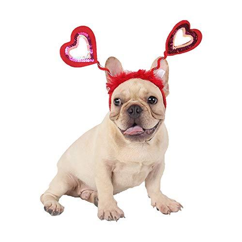 Valentine's Day dog sequin heart headband