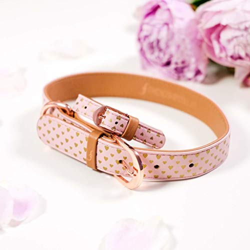 collar and bracelet set, pink with gold hearts