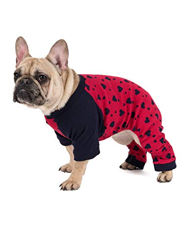red dog pajamas with black hearts print for valentine
