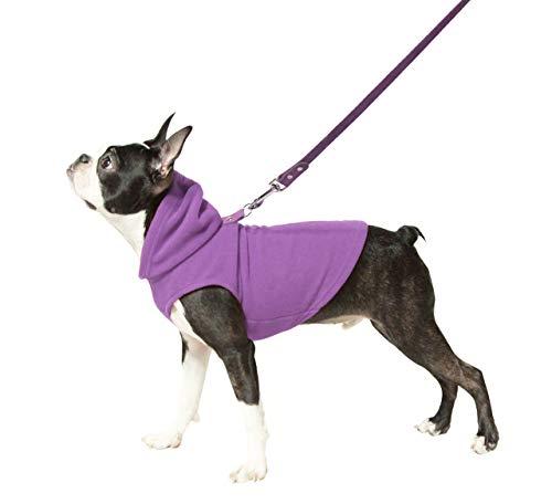 purple Gooby fleece dog hooded vest