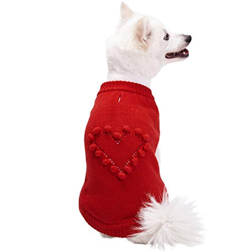 Blueberry Pet Red Heart Valentine's Day dog sweater