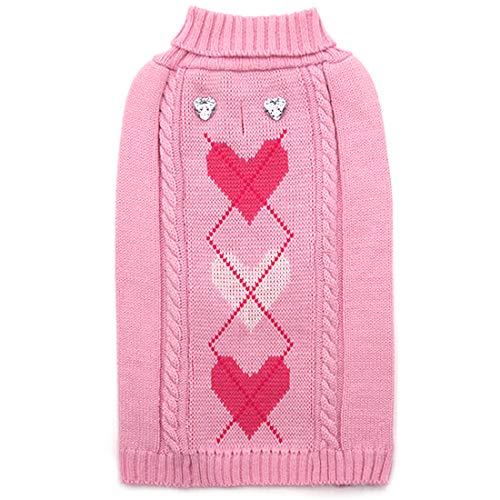 Dog Valentine's Day argyle heart knit
