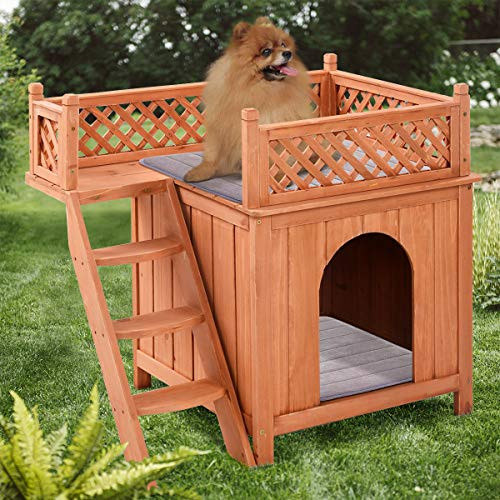 Giantex wooden two-story dog house