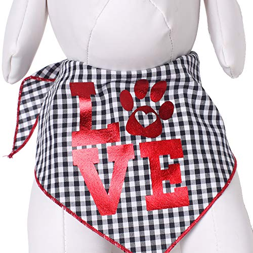 Tail Trends black-and-white-checked Valentines Day dog bandana