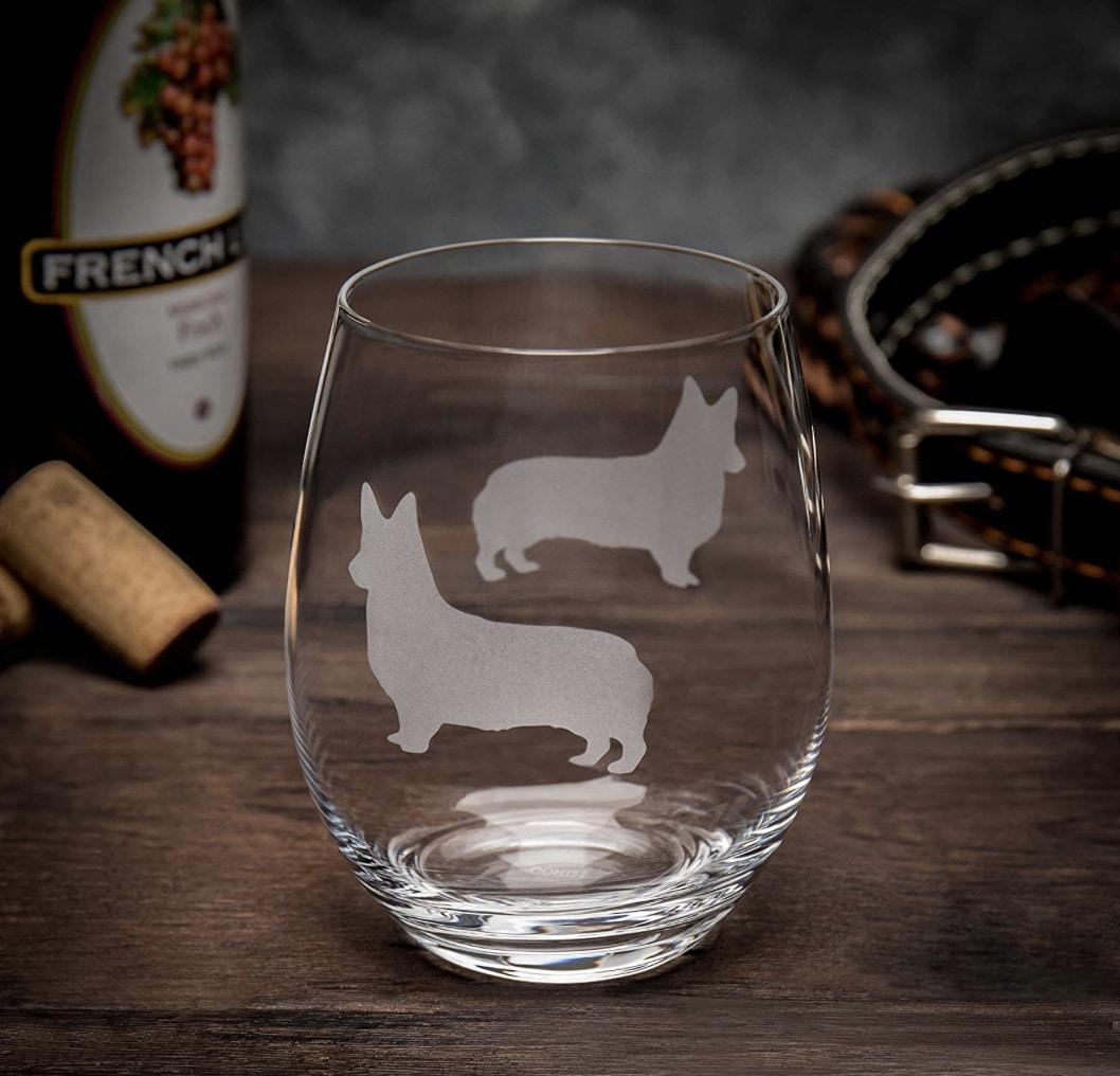 Dog Dad Gift Stemless Wine Glass