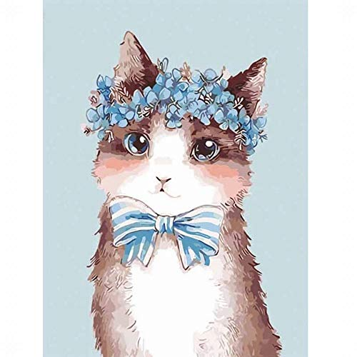 cat with flowers on head painting