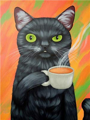 black cat drinking coffee paint-by-numbers image