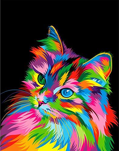 neon colored paint-by-numbers cat