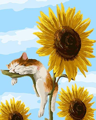 cat sleeping on sunflower leaf