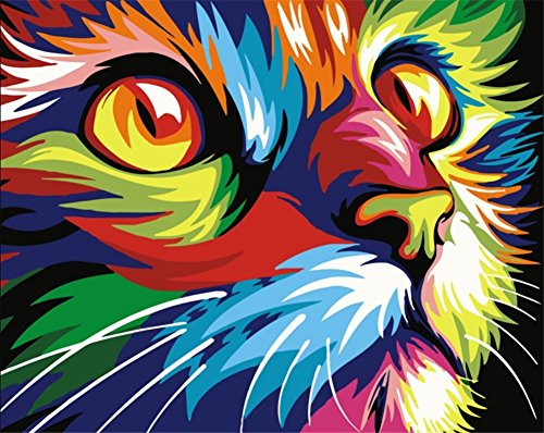 close up of colorful paint-by-numbers cat face