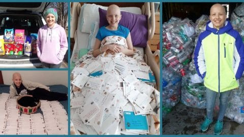 teenage cancer fighter Avery surrounded by gift cards she send to animal shelters
