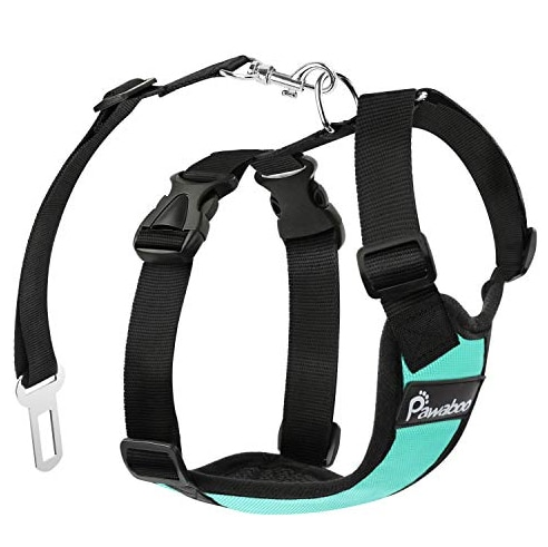 Pawaboo Dog Safety Car Harness in black and teal