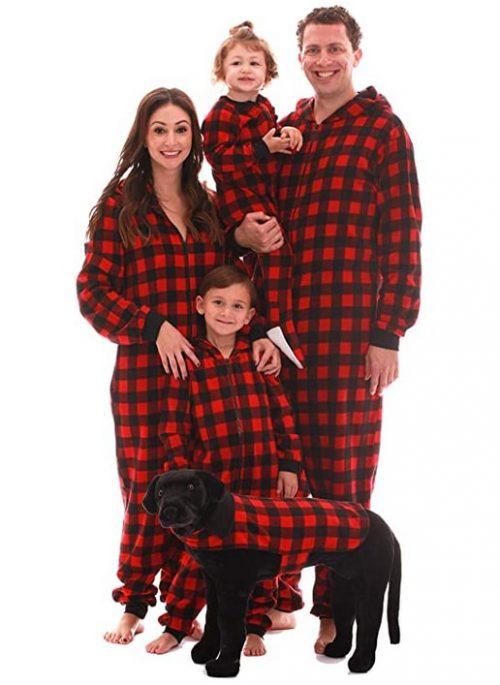 buffalo check dog and owner matching pajamas
