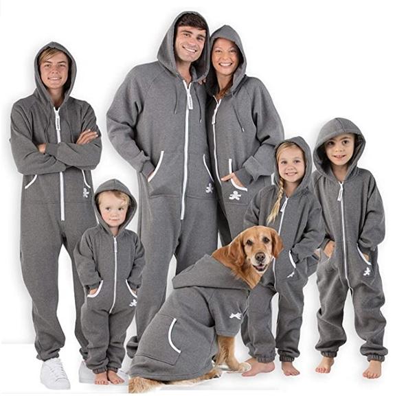 gray hoodie matching family dog and owner pajama set