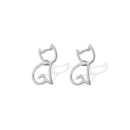 outlined sterling silver pair of cat earrings