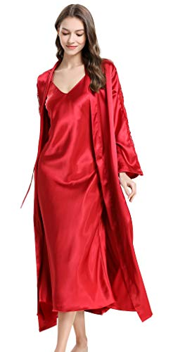 Long Satin Robe and Chemise Set