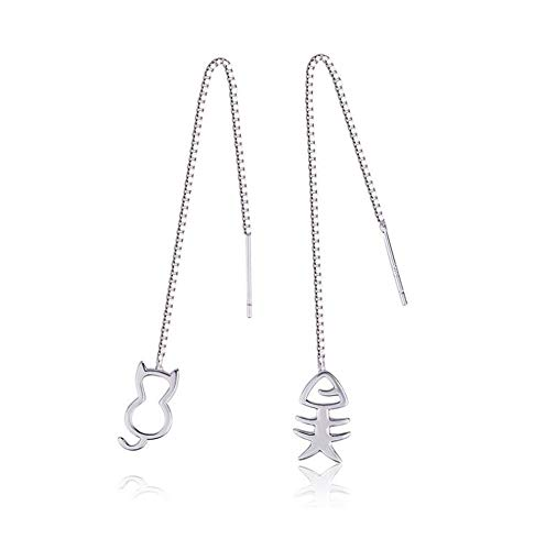 silver kitty and fish bone mismatch pair