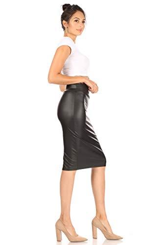 Faux Leather Pencil Midi Skirt