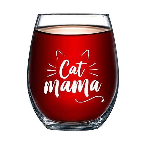 """""""Cat Mama"""" stemless wine glass"""