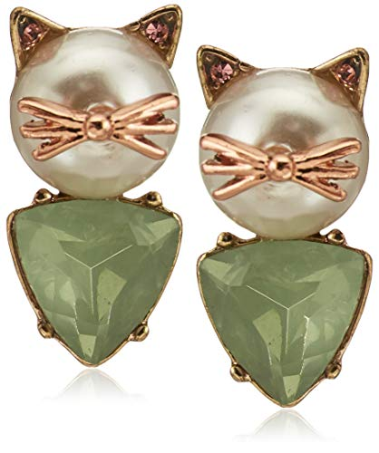 faux pearl-and-stone cat earring pair