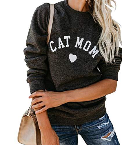 "long-sleeve ""Cat Mom"" sweatshirt"