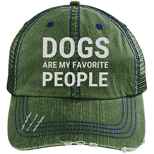 """""""Dogs are My Favorite People"""" green trucker hat"""