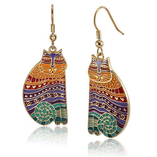 rainbow enameled earrings