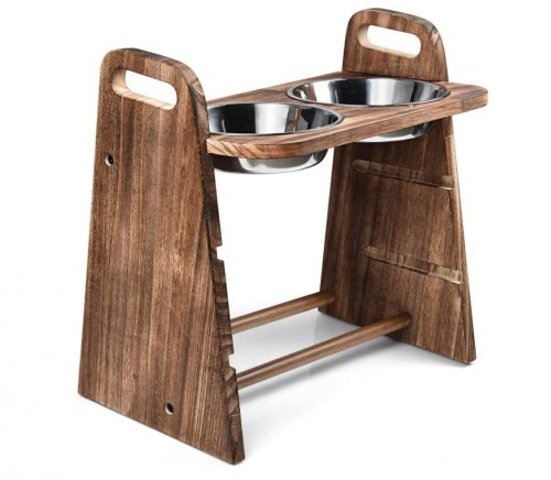 Rustic Wood Elevated Dog Stand
