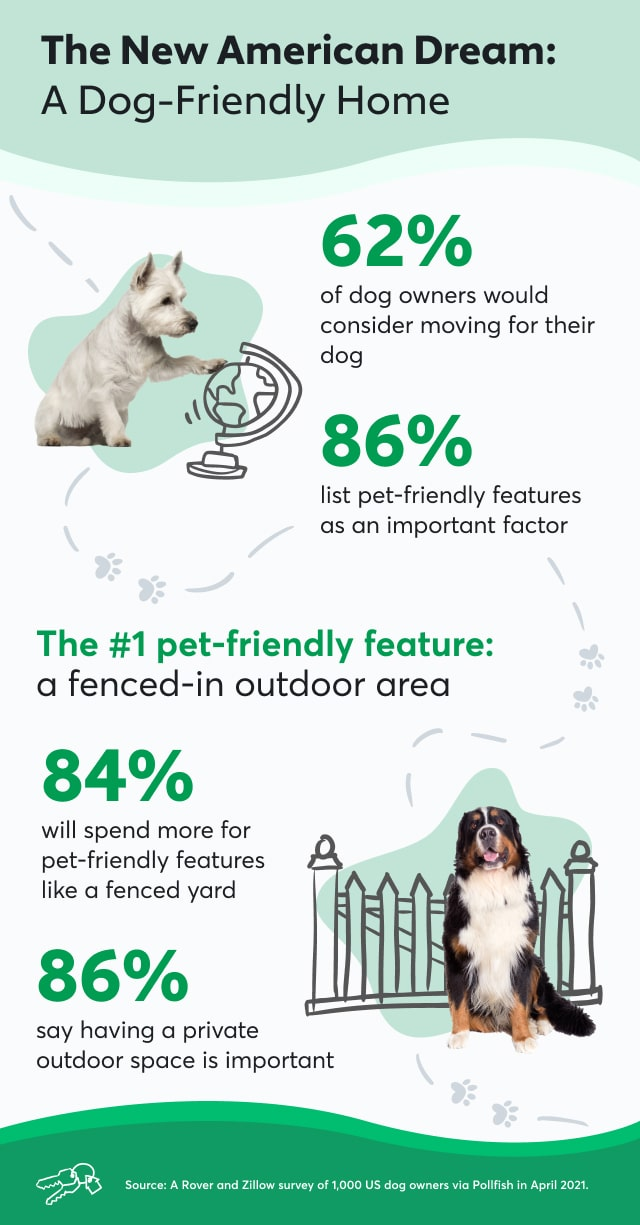 An infographic with stats about what motivates dog owners while moving homes