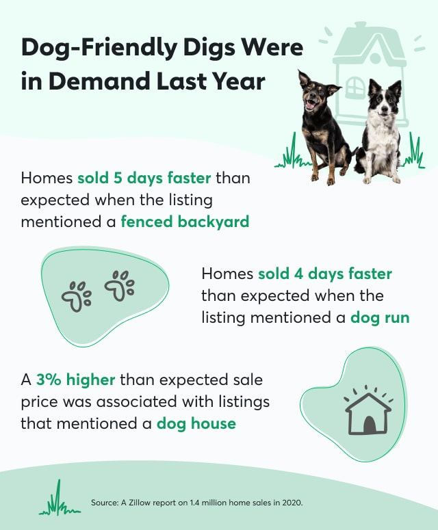 Infographic with stats from Zillow about dog-friendly home listings