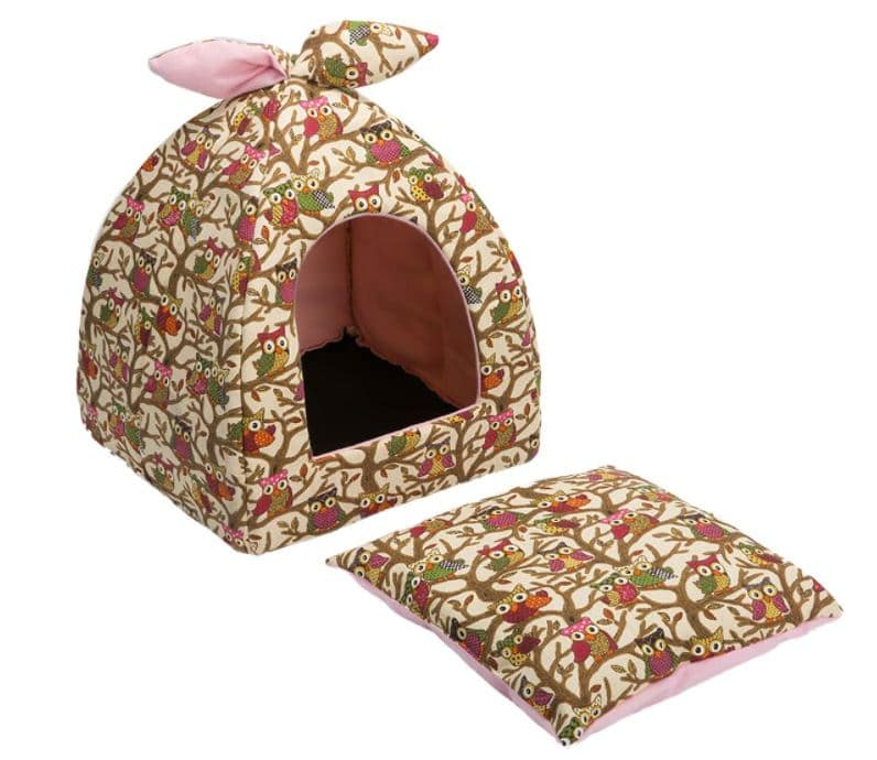 Hollypet igloo cat cave with owls