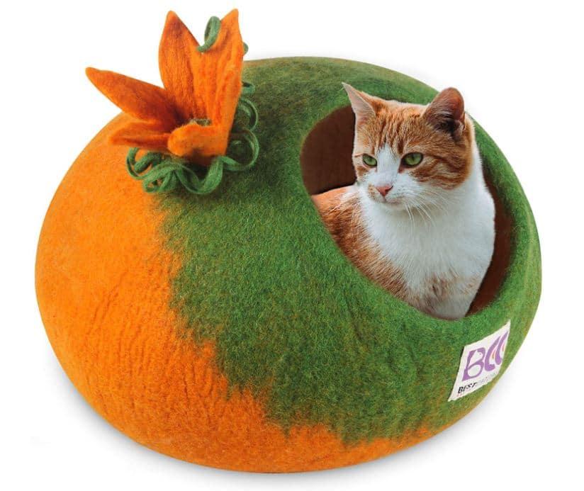 Orange Pumpkin Cat Cave Bed