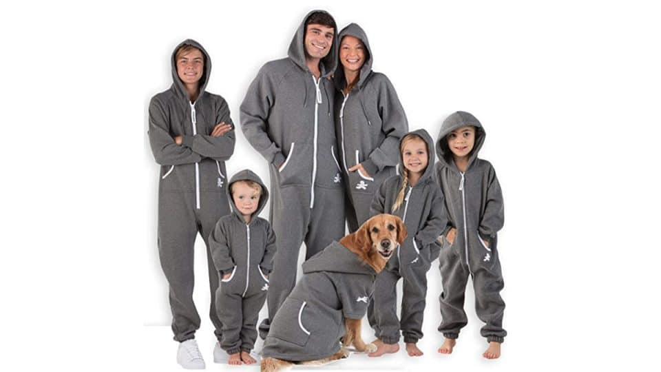 gray hooded matching dog and owner pajamas