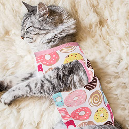 Doughnut-print Uratot cat recovery suit