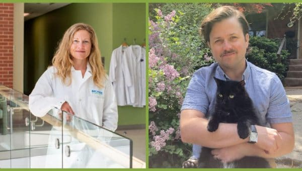 the two co-founders of cultured meat pet food company, Because, Animals