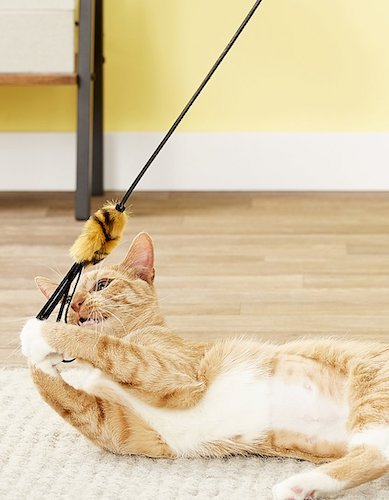 Purrfect leather cat toy wand with tasseled end