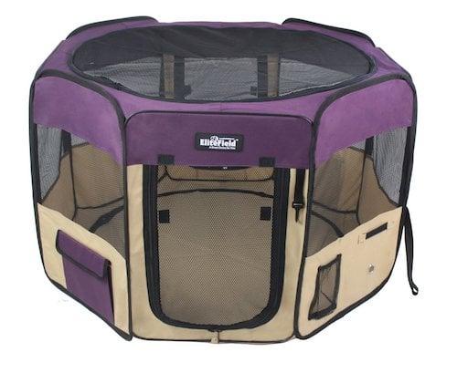 Purple EliteField canvas playpen for kittens