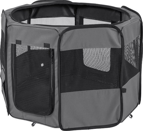 Large gray Frisco playpen with mesh sides