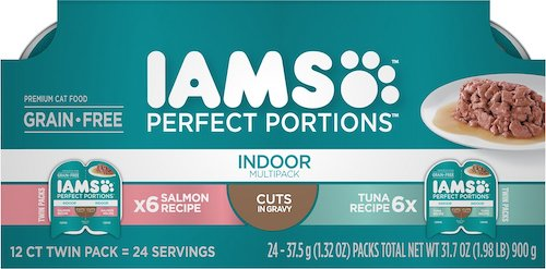 A pack of Iams Perfect Portions cat food in individual trays