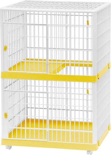 Two-tier white and yellow Iris pet cage