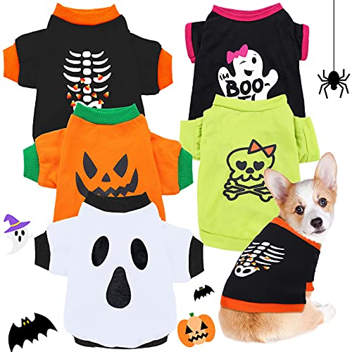 dog with five halloween shirt options in one pack