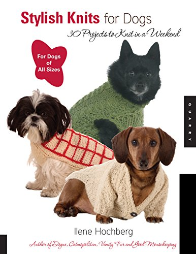 cover of book on how to knit a dog sweater, with three dogs in different styles of sweaters