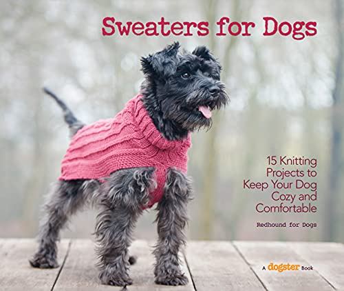 cover of book on how to knit a dog sweater with dog in pink sweater