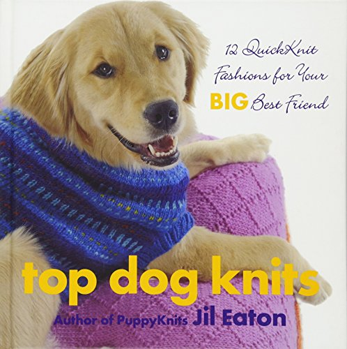 """""""Top Dog Knits"""" book cover with yellow Lab on cover wearing a knit blue sweater"""