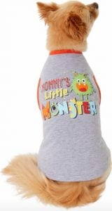 """dog wearing t-shirt that says """"Mommy's Little Monster"""" and cute monster graphic"""